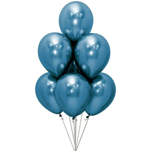 Связка из 7 шаров Синий Хром