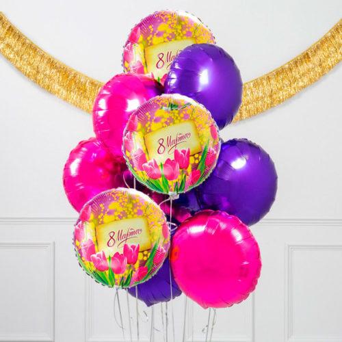 Связка шаров Фуксия и Фиолетовый с 8 марта