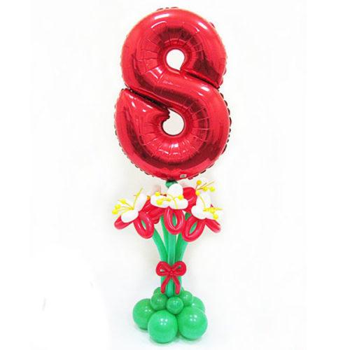 Стойка Цифра 8 для с Красными Цветами