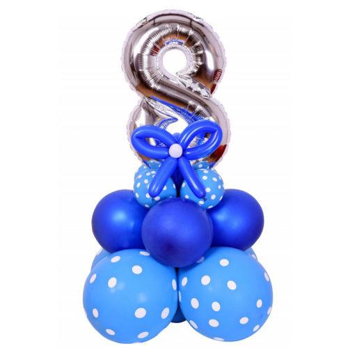 Стойка из шаров 8 на голубой подставке