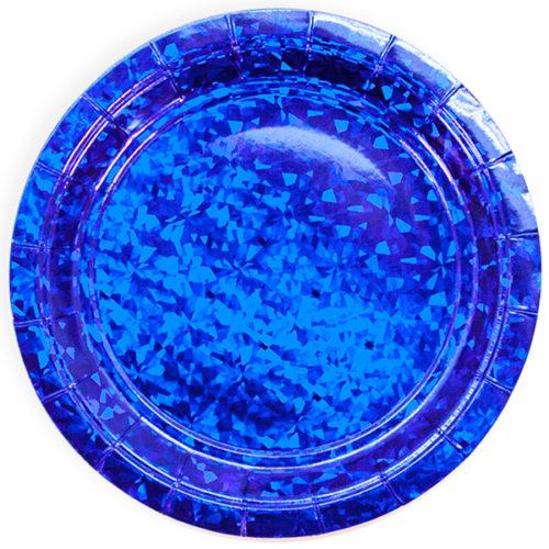 Тарелка 18 см Звездные грани Синий Голография 6 штук