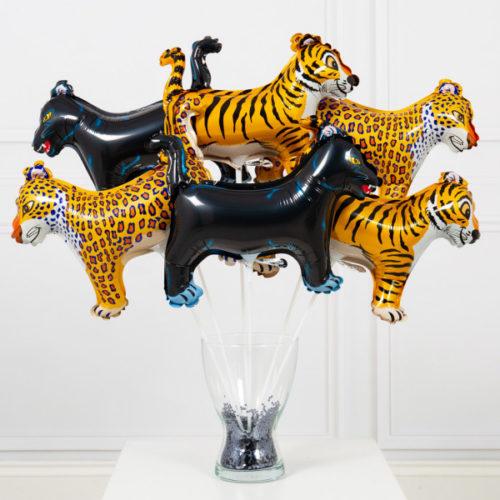 Шары на палочках Тигр Пантера Леопард 6 штук