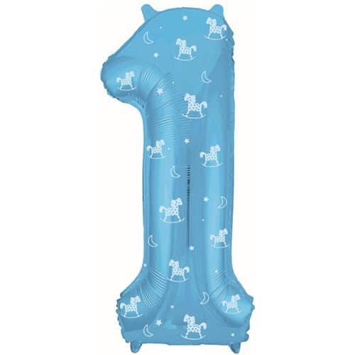 Шар 102 см Цифра 1 Slim Лошадки Голубой