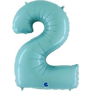 Шар 102 см Цифра 2 Голубой
