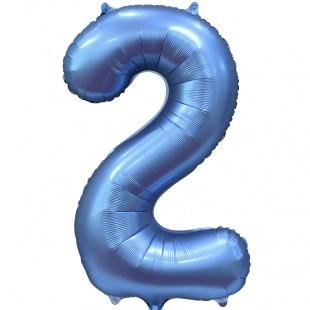 Шар 102 см Цифра 2 Синий Сатин