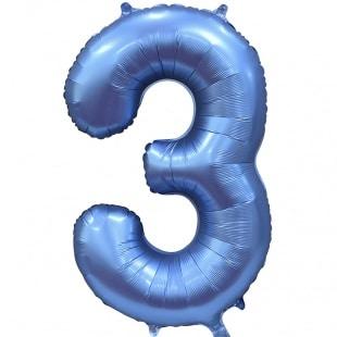 Шар 102 см Цифра 3 Синий Сатин