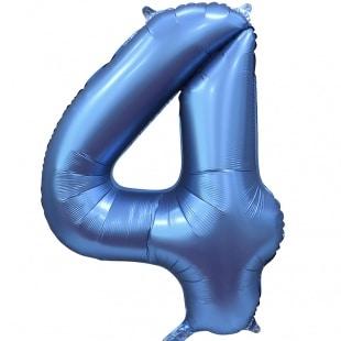 Шар 102 см Цифра 4 Синий Сатин