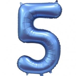 Шар 102 см Цифра 5 Синий Сатин