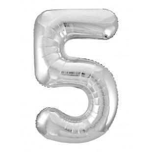Шар 102 см Цифра 5 Slim Серебро