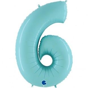 Шар 102 см Цифра 6 Голубой