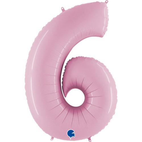 Шар 102 см Цифра 6 Розовый Пастель