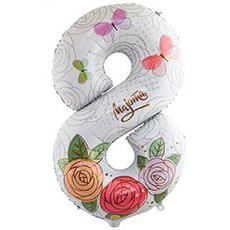 Шар 102 см Цифра 8 МАРТА Розы
