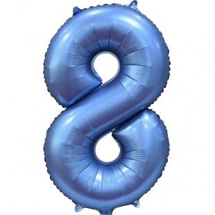 Шар 102 см Цифра 8 Синий Сатин