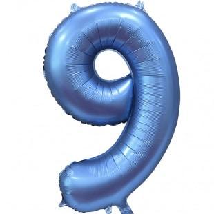 Шар 102 см Цифра 9 Синий Сатин