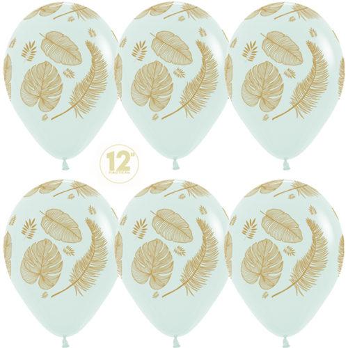 Шар 30 см Золотые листья Макарунс Светлая мята Пастель