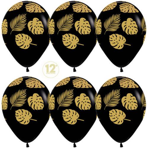 Шар 30 см Золотые листья Черный Пастель
