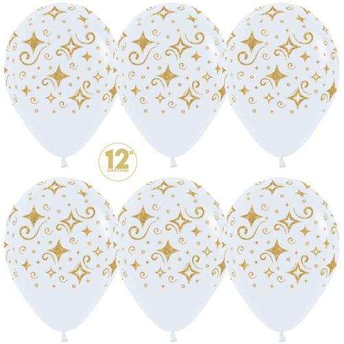 Шар 30 см Сверкающие бриллианты Белый Пастель