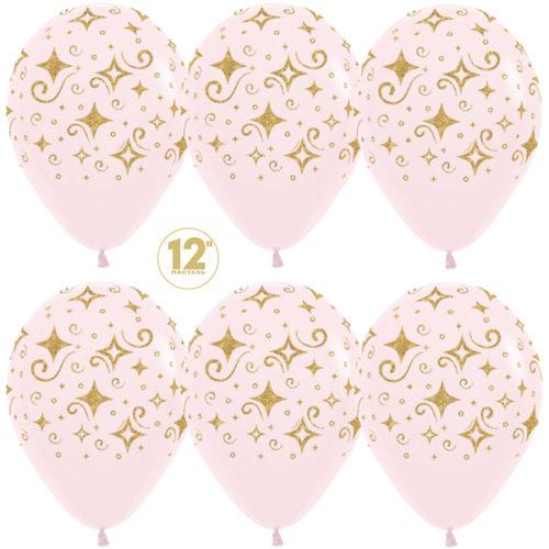 Шар 30 см Сверкающие бриллианты Макарунс Нежно-розовый Пастель