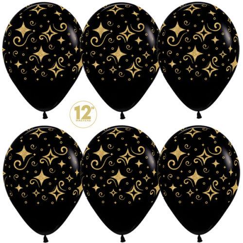 Шар 30 см Сверкающие бриллианты Черный Пастель