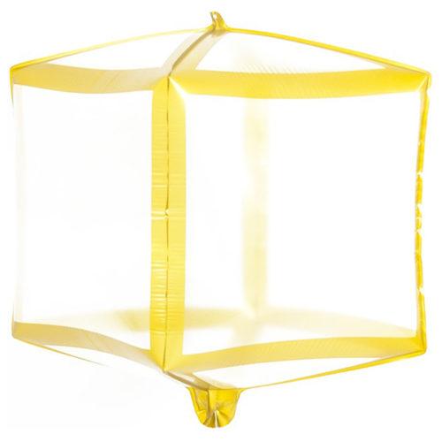 Шар 3D 51 см Куб Золотые грани Прозрачный