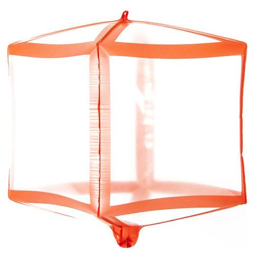 Шар 3D 51 см Куб Красные грани Прозрачный