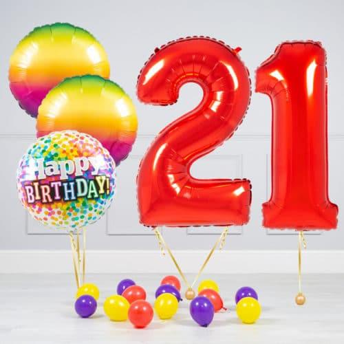 Комплект шаров Красный и Круги Радуга на 21 год