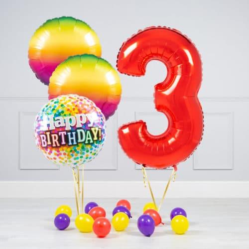 Комплект шаров Красный и Круги Радуга на 3 года