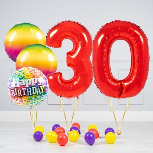 Комплект шаров Красный и Круги Радуга на 30 лет