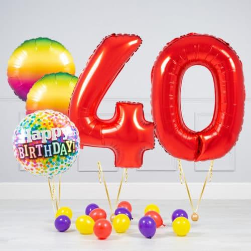 Комплект шаров Красный и Круги Радуга на 40 лет