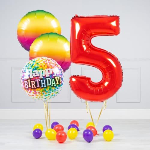 Комплект шаров Красный и Круги Радуга на 5 лет