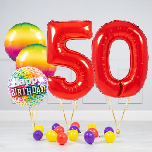 Комплект шаров Красный и Круги Радуга на 50 лет