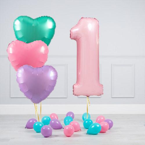 Комплект шаров Розовый и Сердца Пастель на 1 год