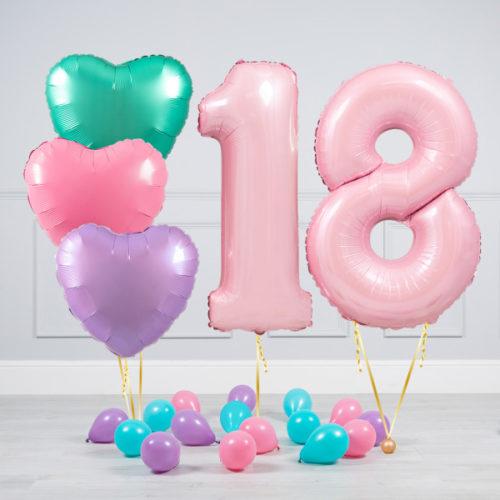 Комплект шаров Розовый и Сердца Пастель на 18 лет