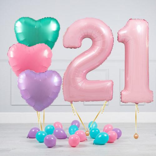Комплект шаров Розовый и Сердца Пастель на 21 год