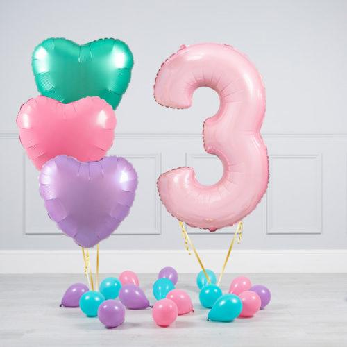 Комплект шаров Розовый и Сердца Пастель на 3 года