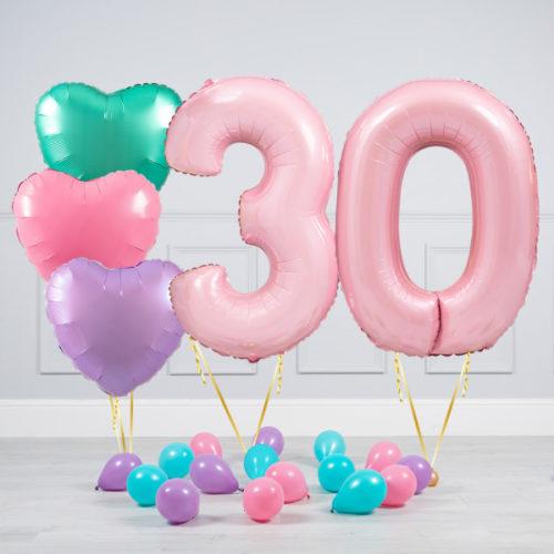 Комплект шаров Розовый и Сердца Пастель на 30 лет