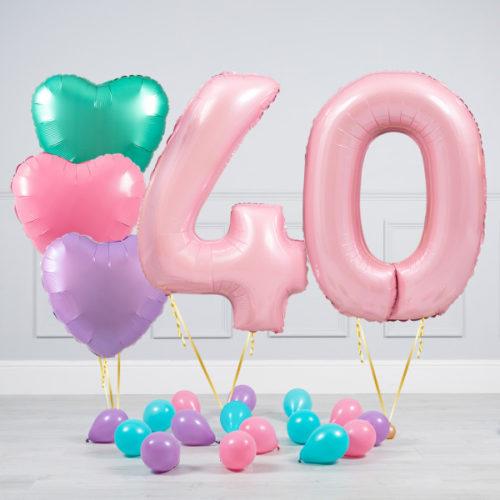 Комплект шаров Розовый и Сердца Пастель на 40 лет