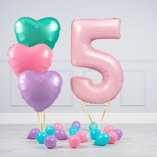 Комплект шаров Розовый и Сердца Пастель на 5 лет
