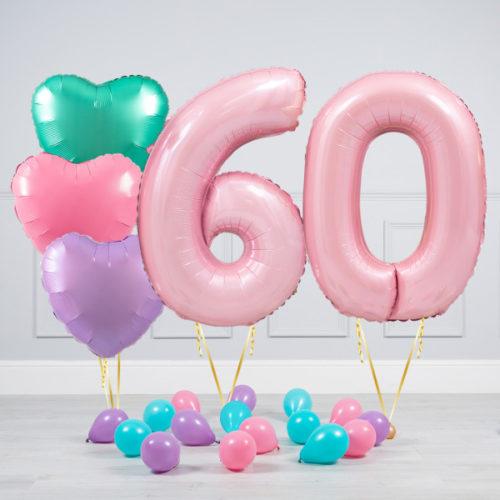 Комплект шаров Розовый и Сердца Пастель на 60 лет