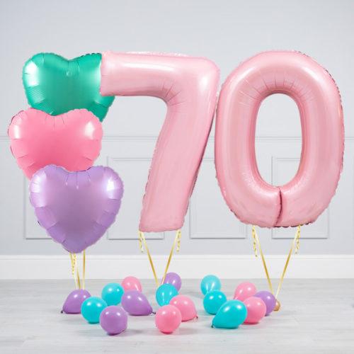 Комплект шаров Розовый и Сердца Пастель на 70 лет