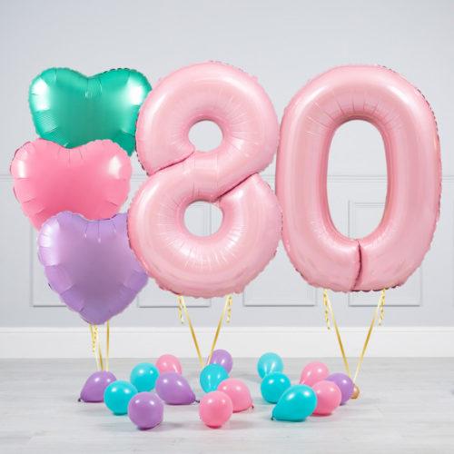 Комплект шаров Розовый и Сердца Пастель на 80 лет