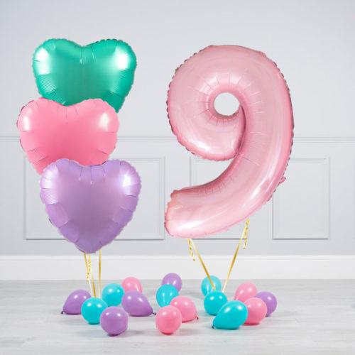 Комплект шаров Розовый и Сердца Пастель на 9 лет