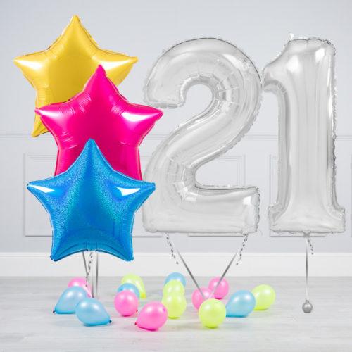 Комплект шаров Серебро и Звезды Ассорти неон на 21 год
