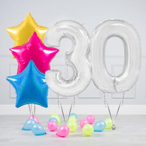 Комплект шаров Серебро и Звезды Ассорти неон на 30 лет