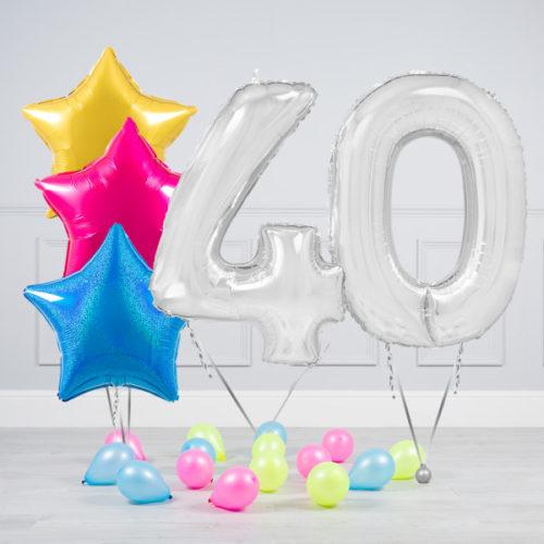 Комплект шаров Серебро и Звезды Ассорти неон на 40 лет
