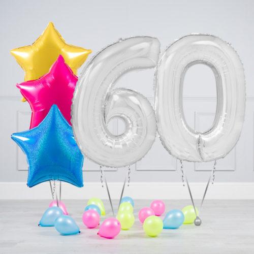 Комплект шаров Серебро и Звезды Ассорти неон на 60 лет