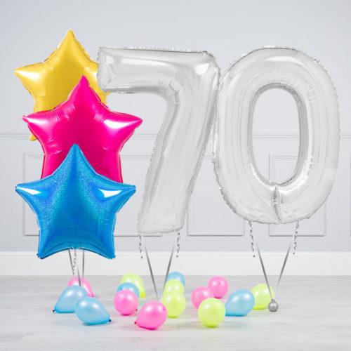Комплект шаров Серебро и Звезды Ассорти неон на 70 лет