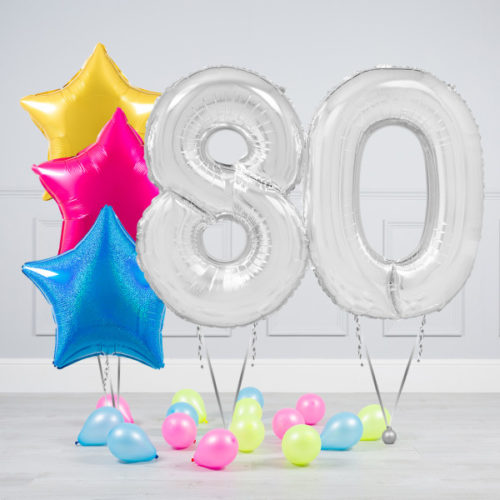 Комплект шаров Серебро и Звезды Ассорти неон на 80 лет