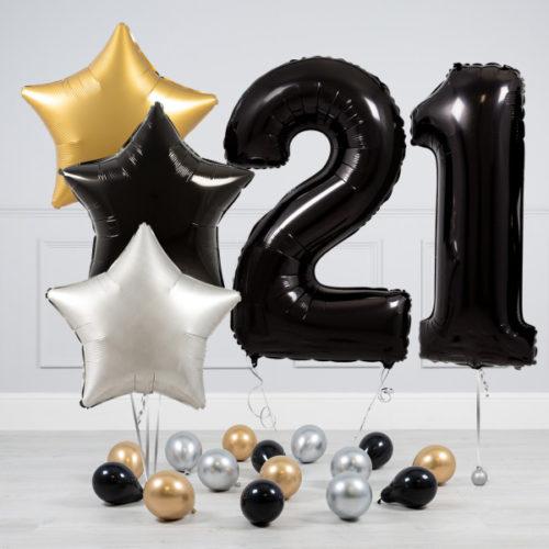 Комплект шаров Черный и Звезды Серебро Золото на 21 год