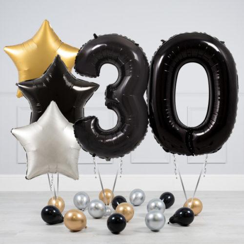 Комплект шаров Черный и Звезды Серебро Золото на 30 лет